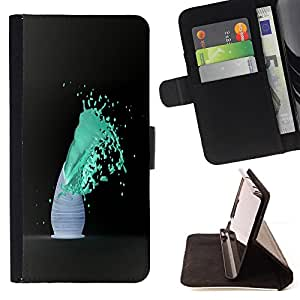 BullDog Case - FOR/Apple Iphone 5C / - / Blue Color Splash /- Monedero de cuero de la PU Llevar cubierta de la caja con el ID Credit Card Slots Flip funda de cuer