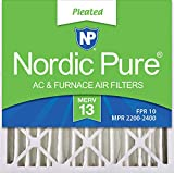 Nordic Pure 20x20x4 (3-5/8 Atcual Depth) MERV 13 Pleated AC Furnace Air Filters, 1 Pack, 4-Inch