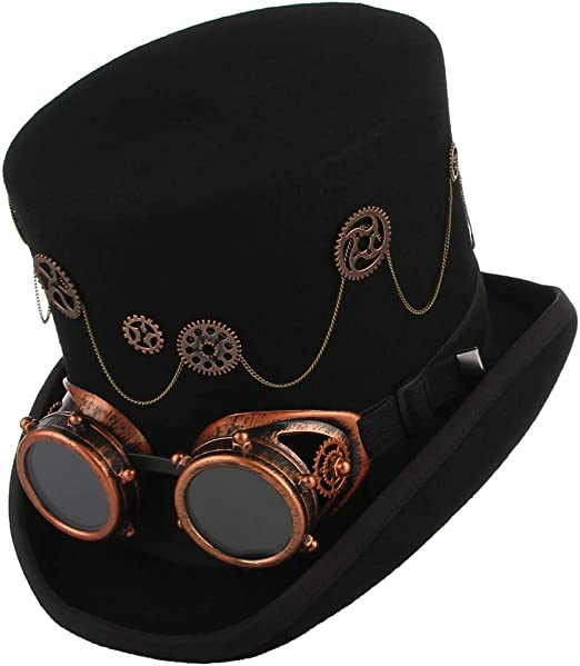 High quality 100/% wool leather strapped large steam punk top hat /& goggles