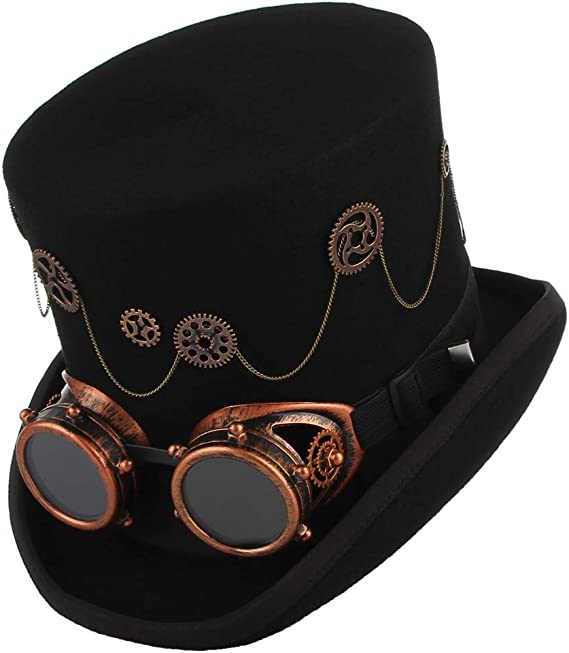 Steampunk Goggles Wool Felt Men Topper Top Hat VictorianBlackS M L XLA