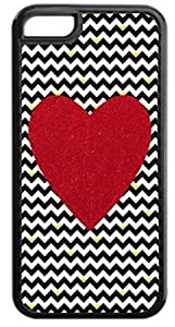 Black and White Chevrons with Hearts-Red Print Heart - Case for the APPLE iphone 5s ONLY-NOT FOR THE iphone 5s !!!-Hard Black Plastic Outer Case