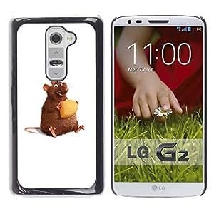 Qstar Arte & diseño plástico duro Fundas Cover Cubre Hard Case Cover para LG G2 / D800 / D802 / D802TA / D803 / VS980 / LS980 ( Rat Rodent Hamster Art Cartoon Cheese Cute)