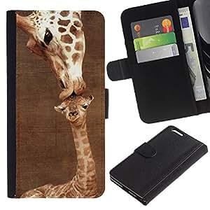 Planetar® Modelo colorido cuero carpeta tirón caso cubierta piel Holster Funda protección Apple (5.5 inches!!!) iPhone 6+ Plus / 6S+ Plus ( Giraffe Cute Mother Mom Day Brown )