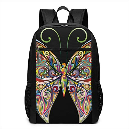 (JUSTFORU Shop Colorful Butterfly Water Resistant Schoolbag,Casual Unisex Rucksack for Travel Outdoor Camping,Fits Laptop/Notebook for Men and Women.)