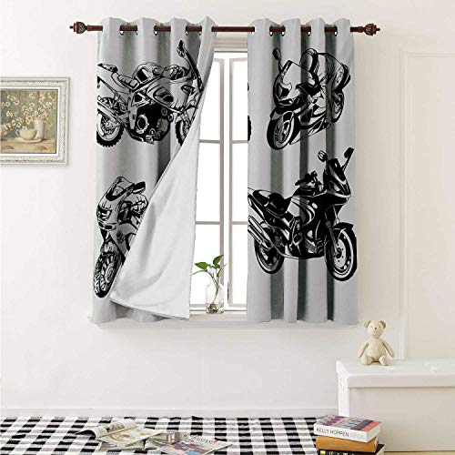 shenglv Motorcycle Waterproof Window Curtain Cartoon Motorbike Speed Race Exciting Sport Hobby Lifestyle on The Roads Print Curtains for Party Decoration W84 x L72 Inch Orange Black