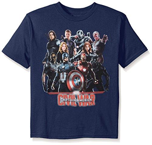 Marvel Girls' Thor, Captain America or Spiderman T-Shirt, Captain America Navy, - T Marvel Shirts 6x