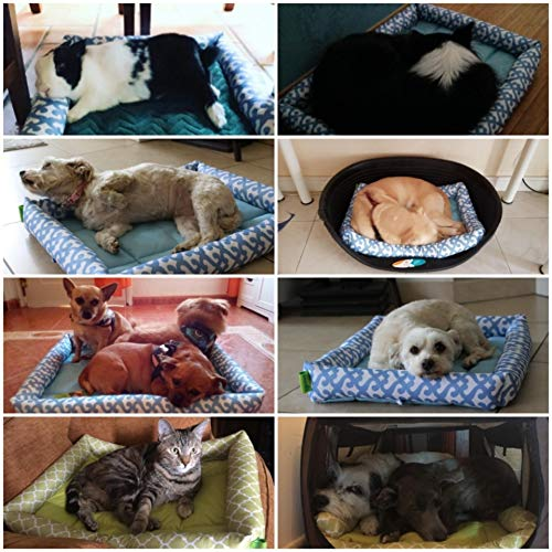 "Pecute Dog Bed Waterproof Detachable Pet Mat Washable Printed for Dogs and Cats Oxford (22.8x17.3x2.8"", Green)"