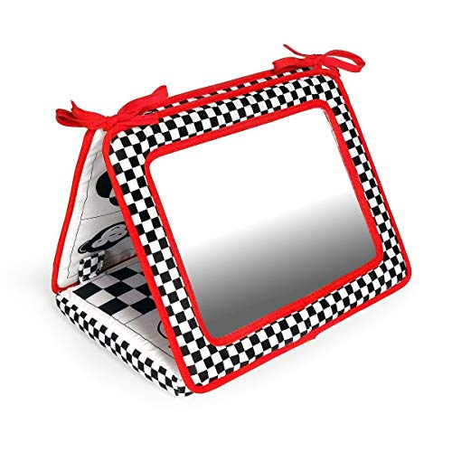 Black, White and Red 2-in-1 Smile Baby Crib and Floor Mirror by Genius Baby Toys (Image #4)