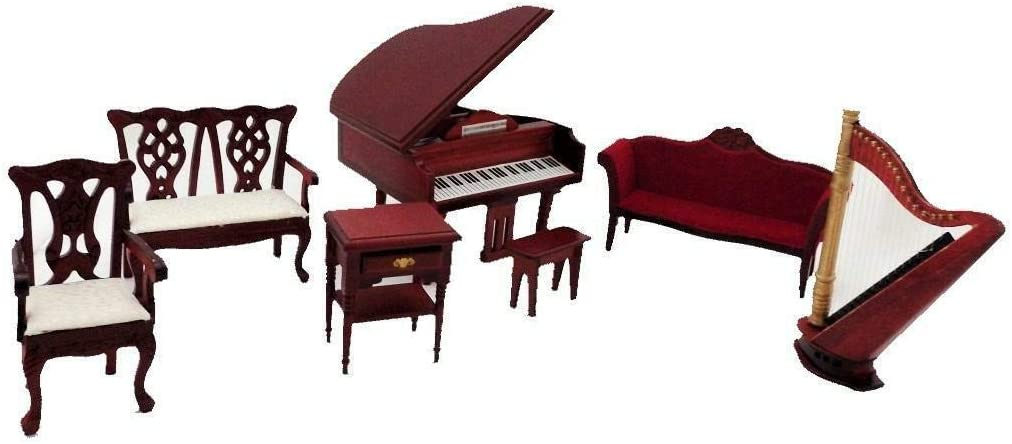 Melody Jane Dollhouse Music Room Furniture Set with Piano & Harp Mahogany