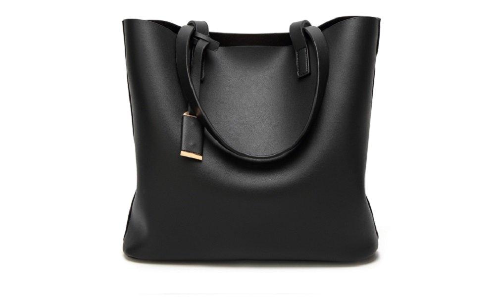 Women's Vintage Fine Fibre Genuine Leather Bag Tote Shoulder Bag Handbag Model Suo Black
