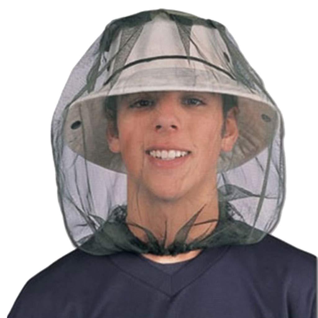 Sombrero de para Pesca Abeja con mosquitero Insectos mosquitera Gorra de prevencion Malla sombrilla al Aire Libre Cubierta de Cabeza con Cuello Solitario Pwtchenty