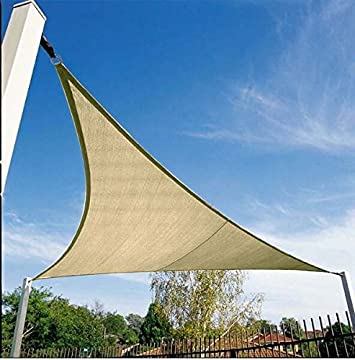 Quictent 185G HDPE Triangle Sun Shade Sail Canopy 98 UV Block Top Outdoor Cover Patio Garden 20 x 20 x 20 ft, Sand