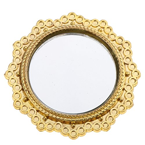 MagiDeal Vintage Style Round Golden Metal Framed Mirror Dollhouse Furniture Dia. -