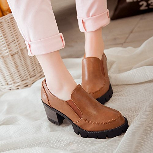 Show Shine Womens Fashion Chunky Heel Bungee Shoes Brown TMTZR
