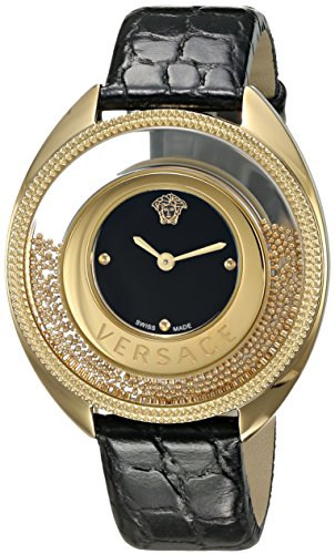 Versace-Womens-DESTINY-SPIRIT-Small-Swiss-Quartz-Stainless-Steel-and-Leather-Casual-Watch-ColorBlack-Model-VAR040016