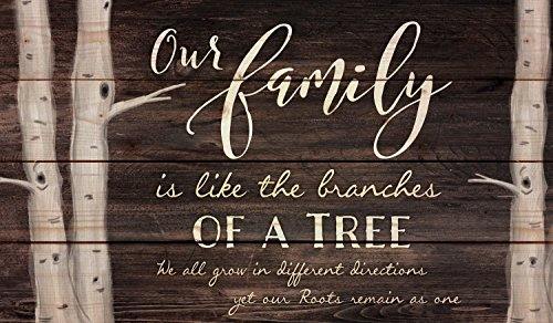 Family Sign - Our Family Tree Dark Distressed 24 x 14 Inch Solid Pine Wood Pallet Wall Plaque Sign
