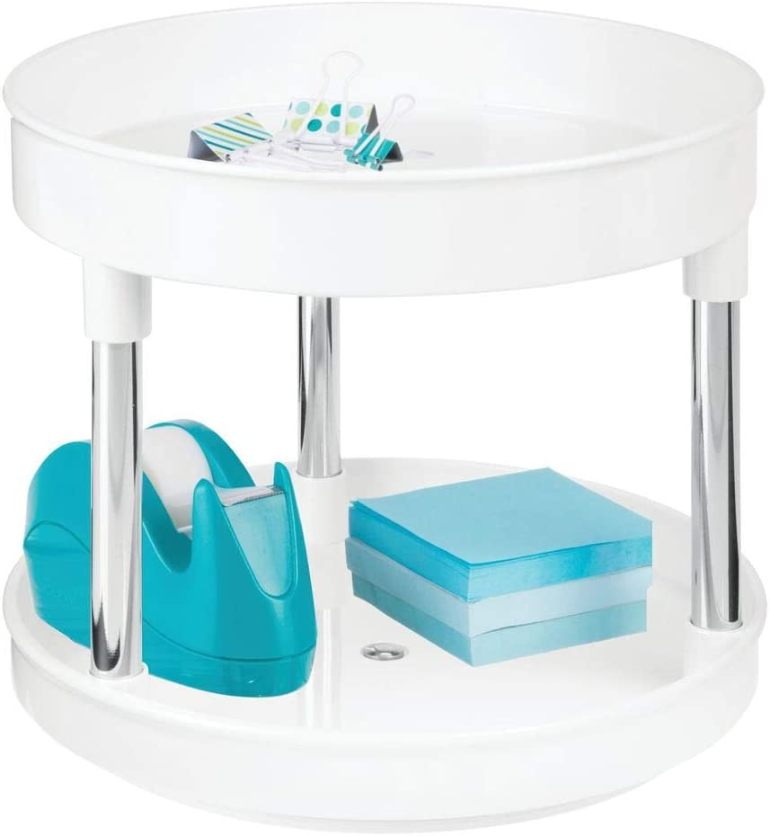 mDesign Plastic Spinning 2 TierLazy Susan Turntable Storage Tray - Rotating Storage Organizer for Desktop, Drawer, Home Office Supplies, Erasers, Tape, Notepads, Colored Pencils - White/Chrome