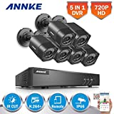 ANNKE 8CH Security Camera System 1080N Digital Video Recorder and (6) 1280TVL Outdoor Fixed Weatherproof Cameras, 1080P HDMI Output, QR Code Scan to Remote View-NO HDD
