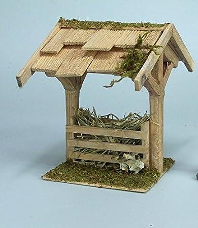 Pesebre de madera con techo de tejas. 14,5 cm de alto para la cuna. Colour beige, marrón o gris., Futterkrippe braun W995: Amazon.es: Hogar
