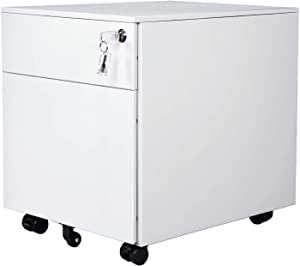 AIMEZO 2-Drawer Mobile File Cabinet Under Desk Storage for Home Office, Fully Assembled White
