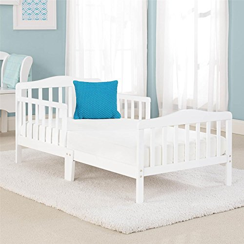 (Big Oshi Contemporary Design Toddler & Kids Bed - Sturdy Wooden Frame for Extra Safety - Modern Slat Design - Great for Boys and Girls - Full Bed Frame With Headboard, in White)