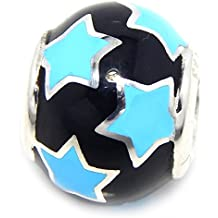 "Solid 925 Sterling Silver ""Black w/ Sky Blue Stars"" Spacer Charm Bead 147 for European Snake Chain Bracelets"