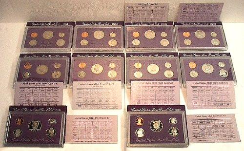 United States Mint Proof Sets Lot - 1984,1985,1986,1987,1988,1989,1990,1991,1992,1993