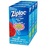 Ziploc Freezer Bags with Double Zipper Seal and Easy Open Tabs, Medium, 102 Count (3x34ct), Value Pack