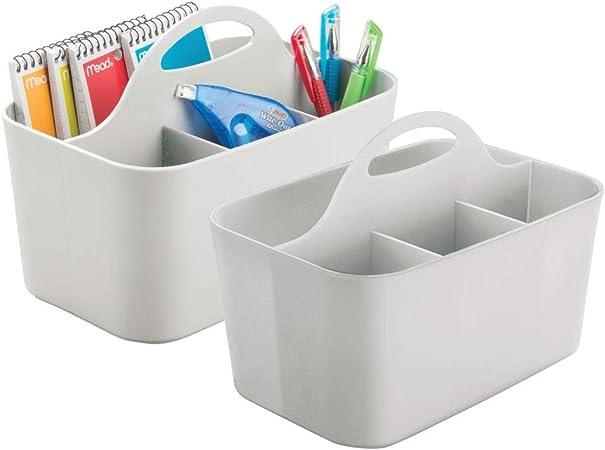mDesign Juego de 2 organizadores de escritorios con asa – Prácticos organizadores de oficina portátiles – Cestas de plástico resistente para tijeras, bolis, etc. – Con 4 divisiones cada uno – gris: Amazon.es: Hogar