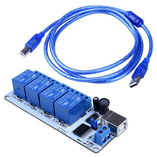 Quimat 5V USB 4 channel relay module Automation 5V Controller with Tutorial and 1.5m Copper core USB Cable ()
