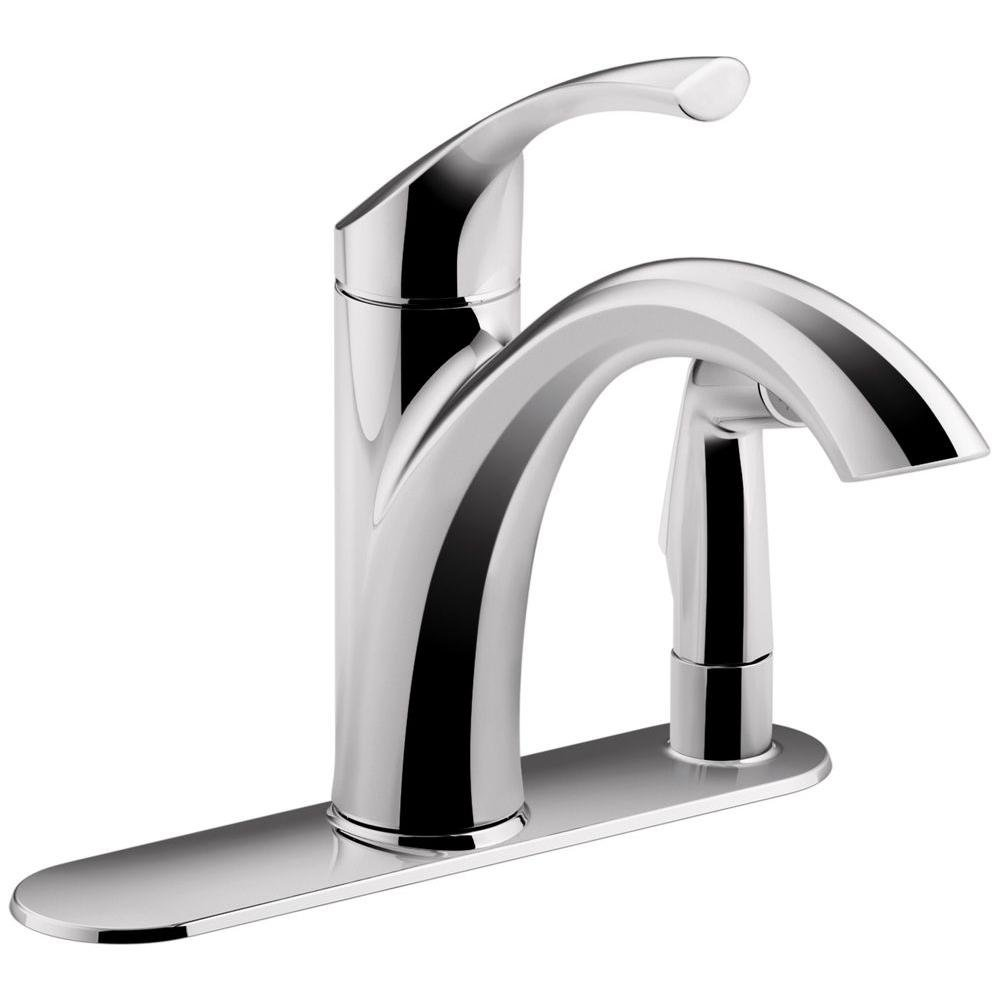 KOHLER Mistos Single-Handle Standard Kitchen Faucet With Side Sprayer In Polished Chrome