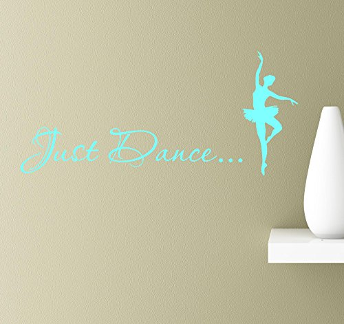#2 Just dance ballerina dancer pas de deux silhouette pose en pointe wall art quotes sayings vinyl decals home inspirational love bible sticker (Mint)