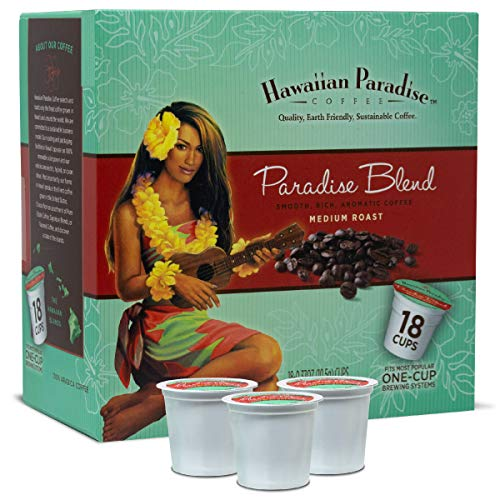 Hawaiian Paradise Coffee K Cups Paradise Blend { 18 Cups } Smooth Rich Aromatic World Class Premium Flavored Grounds Gourmet | Medium Roast From The Finest Beans | Hawaiian Island ()