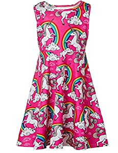Ahegao Girl's Floral Sleeveless Skirts Kids One Piece Dresses School Party Casual 4-13 Years Old