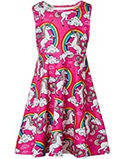Funnycokid Girls Summer Dresses Print Floral Sundress 2-13 Years