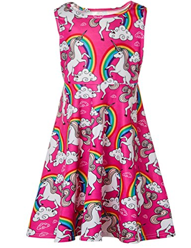 Funnycokid Grils Print Dress Casual Sleeveless Kids Party Dress 1013 T