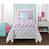 4 Piece Girls Rose Pink White Ballerina Comforter Full Queen Set, Yellow Kids Bedding Dancing Princess Whimsical Floral Design, Disney Movie Characters Pattern Adorable Cheerful Teen Themed, Polyester