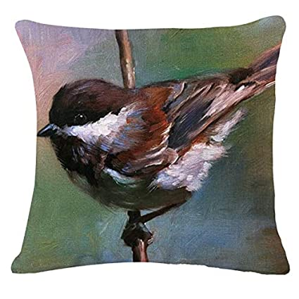 Amazon.com: Pillowcase All Small Bird Cushions Cover Linen ...