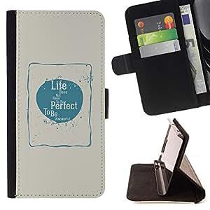 BullDog Case - FOR/Apple Iphone 6 PLUS 5.5 / - / perfect life love happiness blue beige poster /- Monedero de cuero de la PU Llevar cubierta de la caja con el ID Credit Card Slots Flip funda de cuer