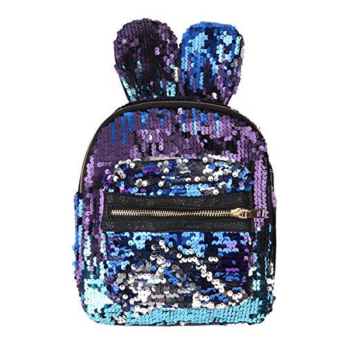 Glitter Bunny - Freebily Girls Cute Rabbit Ears Sequins Backpack Glitter Bling Rucksack School Travel Daypack Shoulder Bag Blue One Size