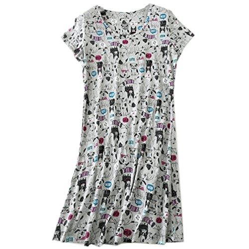 (ENJOYNIGHT Women's Sleepwear Cotton Sleep Tee Short Sleeves Print Sleepshirt (X-Large, Grey)