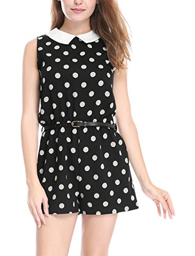 Allegra K Women's Polka Dots Contrast Collar Sleeveless Romper w Belt M Black