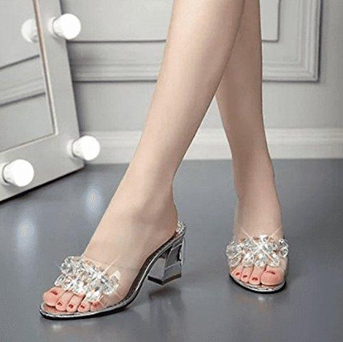 AWXJX Frauen Flip Flops Künstliche Diamanten High Dick Heel Dick High mit Transparente Rutschfeste Silber 7.5 US 38 EU 5 UK 0746c0