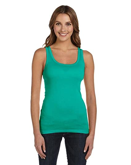47323fb32ec49d Bella Ladies Sheer Jersey Longer Length Tank Top. 8780 - X-Large - Teal at  Amazon Women s Clothing store  Athletic Tank Top Shirts