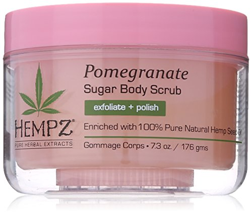 Hempz Herbal Sugar Body Scrub, Light Pink, Pomegranate, 7.3