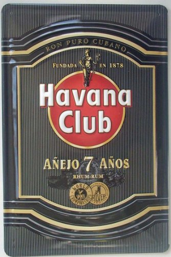 Havana Club Rum (Havana Club Rum (Black) Embossed Metal Sign 12
