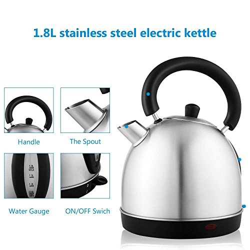 Utheing 1000W 1.8 Liter Stainless Steel Electric Kettle with Auto Shut-Off Control, Coffee Kettle, Hot Water Heater Boiler