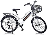 Electric City Bike 350W 36V 10Ah Power Electric Bicycle, Pearl White, LED Bike Light, Fork Suspension and Shim