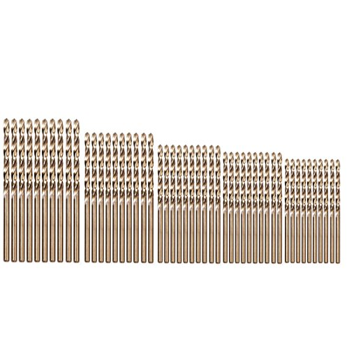 Cobalt Bit Set - Migiwata Metric M35 Cobalt Steel Extremely Heat Resistant Twist Drill Bits with Straight Shank Set of 50pcs in 5 Sizes(1, 1.5, 2, 2.5, 3mm) to Cut Through Stainless Steel Cast Iron and Hard Metals