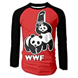 AIYM14 Men's T-shirt,Long Sleeve WWF Funny Panda Bear Wrestling Tee For Men